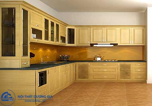 Tủ bếp đẹp được làm từ chất liệu gỗ Pơ Mu