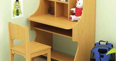 Lựa chọn bàn làm việc trong phòng ngủ hẹp có thiết kế đi kèm kệ tủ