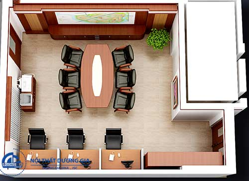 Sử dụng bàn làm việc dạng modul cho mẫu thiết kế văn phòng nhỏ đẹp
