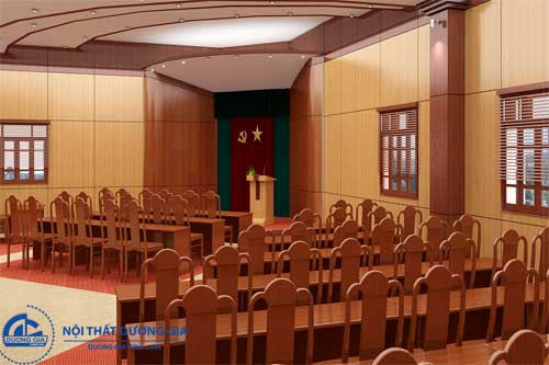 Ghế hội trường gỗ tự nhiên GHT-TN03 phù hợp với các cơ quan nhà nước