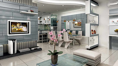 Đơn vị thiết kế, thi công vách ngăn phòng khách và cầu thang uy tín